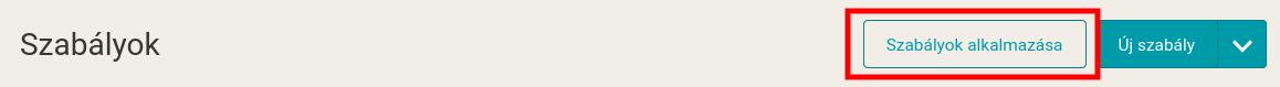 Tlačítko Aplikovat pravidla na stránce Pravidla v Mergadu.