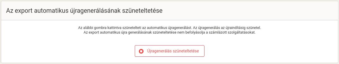 Tlačítko Pozastavit přegenerování dat na stránce Přegenerování.